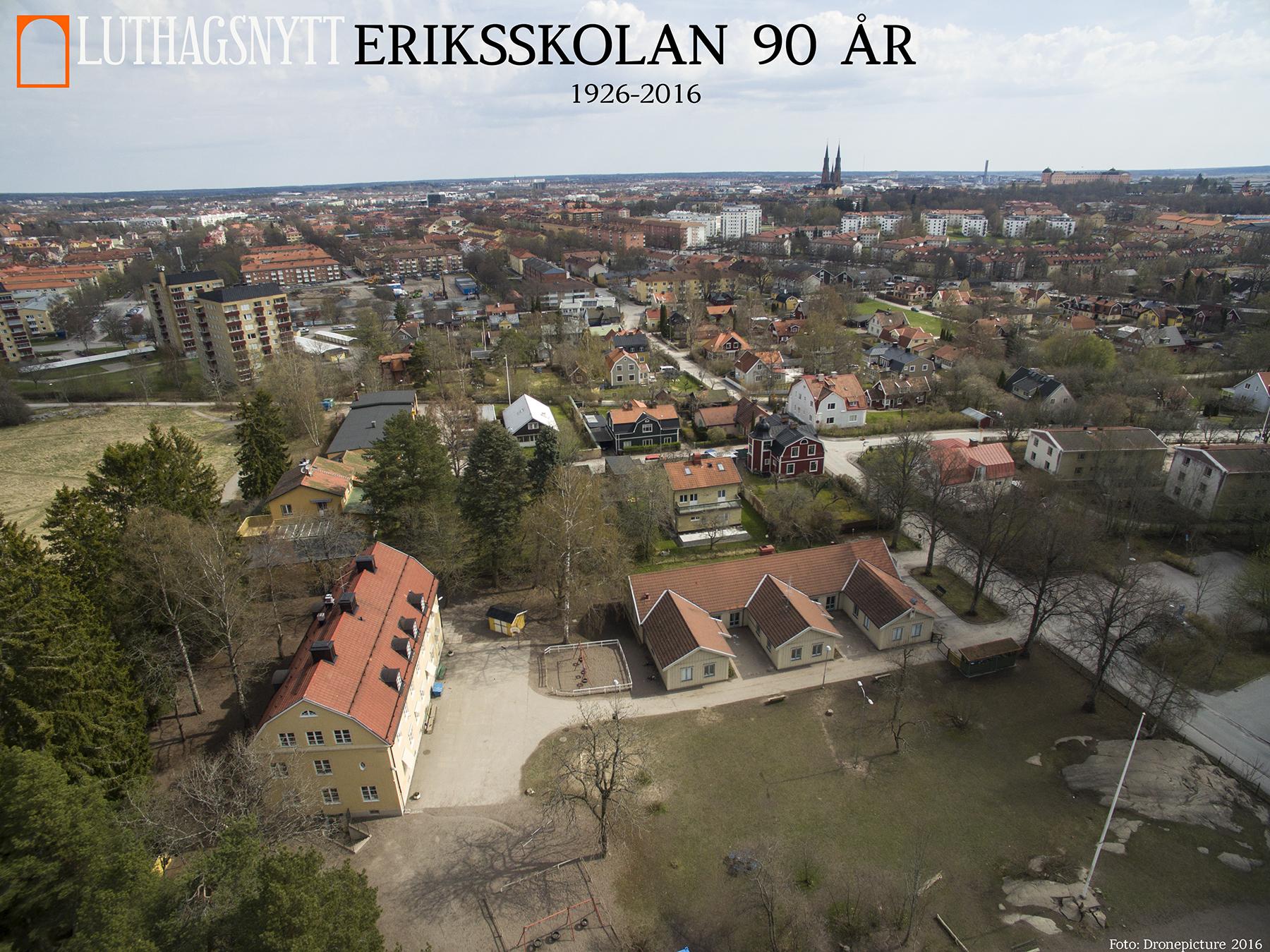 """Den gamla lärarbostaden som numera kallas """"Lilla skolan"""" till vänster i bilden. Huset med de tre paviljongerna går under namnet """"E-huset"""" av förståeliga skäl."""