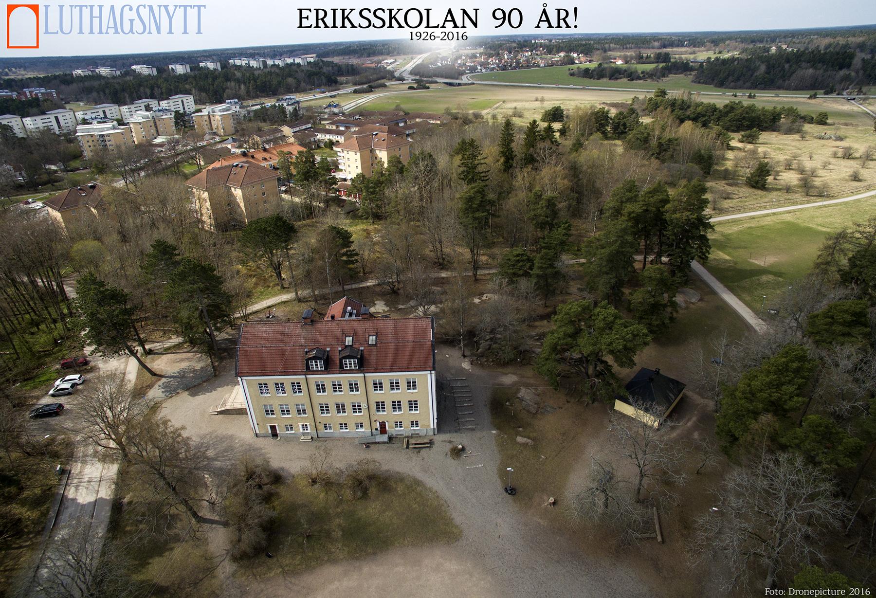 """Den s.k. """"Stora skolan"""" var den ursprungliga skolbyggnaden. Foto: Dronepicture.se för Luthagsnytt."""