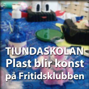 Plast återvinns av elever och blir till konst på Tiundaskolan